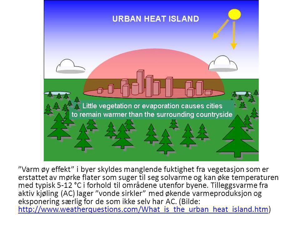 Varm øy effekt i byer skyldes manglende fuktighet fra vegetasjon som er erstattet av mørke flater som suger til seg solvarme og kan øke temperaturen med typisk 5-12 °C i forhold til områdene utenfor byene.
