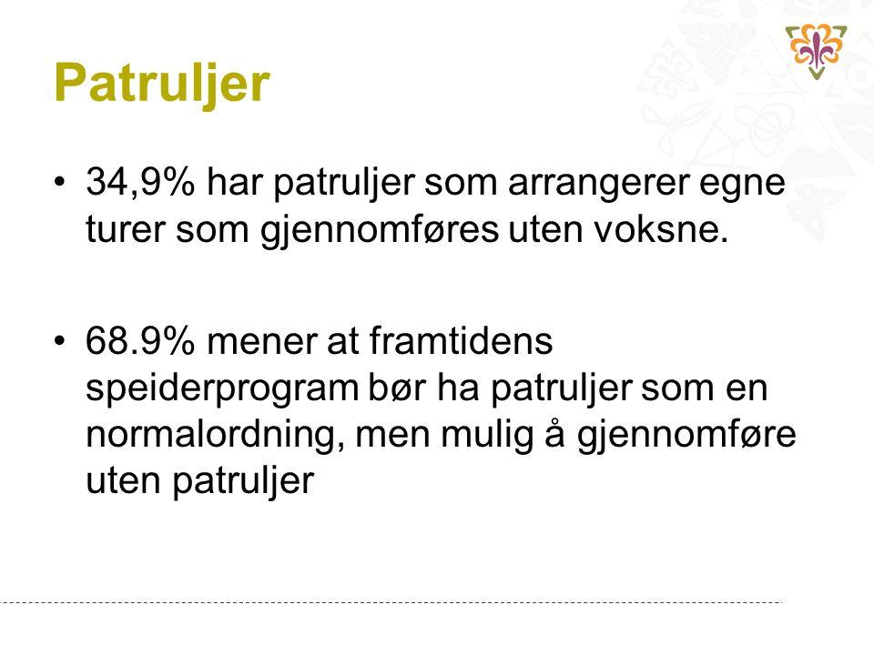 Patruljer 34,9% har patruljer som arrangerer egne turer som gjennomføres uten voksne.
