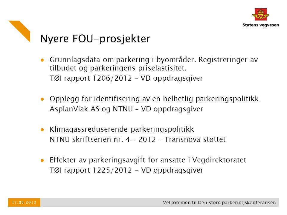 Nyere FOU-prosjekter Grunnlagsdata om parkering i byområder. Registreringer av tilbudet og parkeringens priselastisitet.