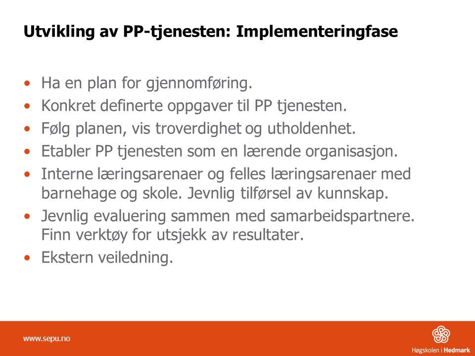 Utvikling av PP-tjenesten: Implementeringfase