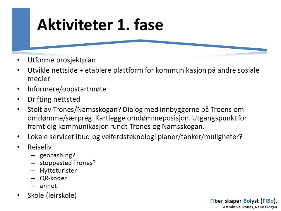Aktiviteter 1. fase Utforme prosjektplan