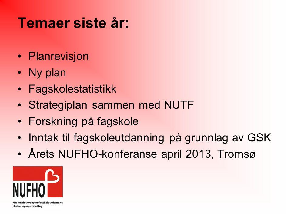 Temaer siste år: Planrevisjon Ny plan Fagskolestatistikk