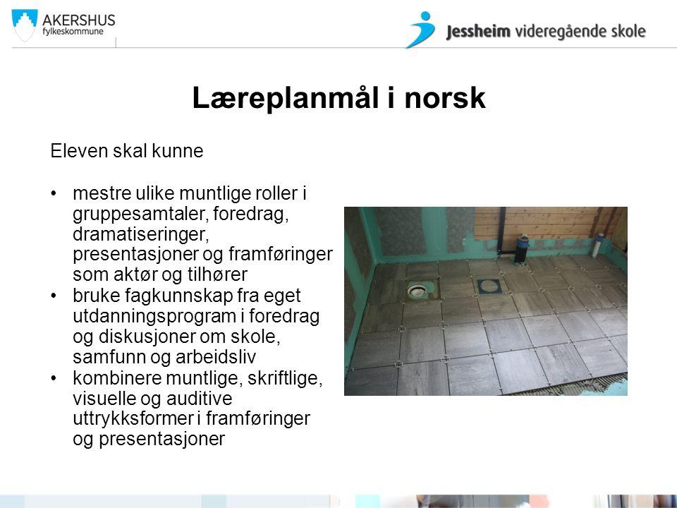 Læreplanmål i norsk Eleven skal kunne