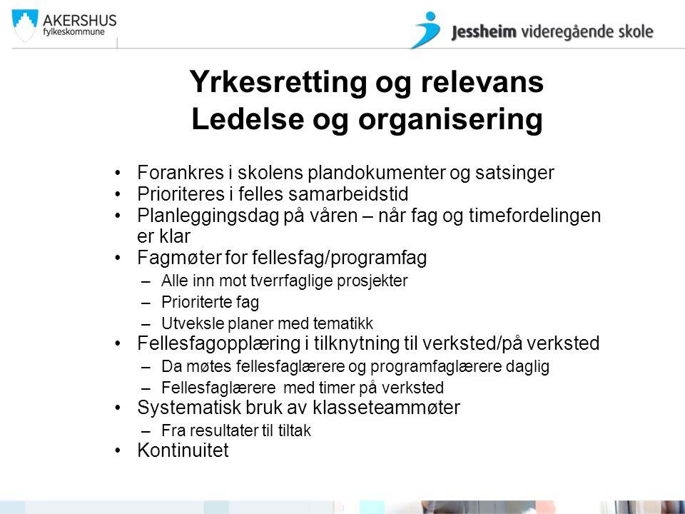 Yrkesretting og relevans Ledelse og organisering