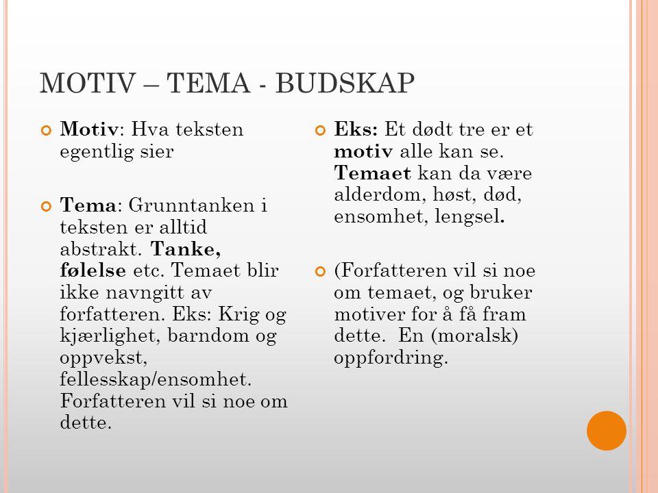 MOTIV – TEMA - BUDSKAP Motiv: Hva teksten egentlig sier