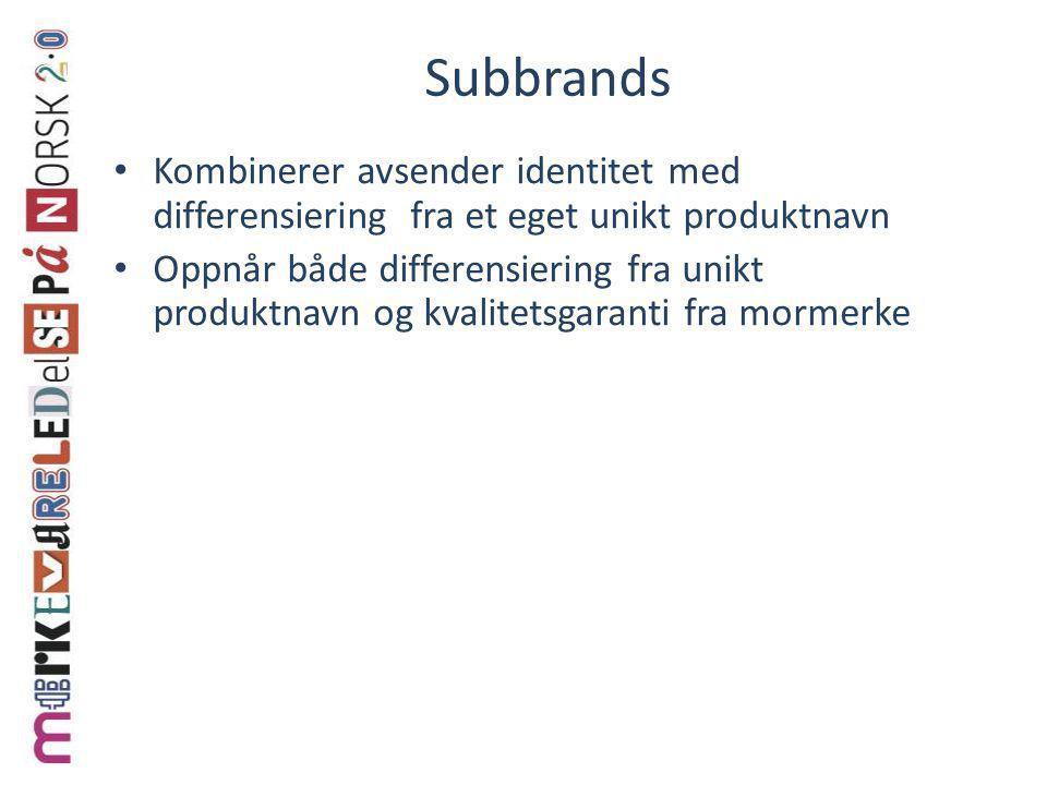 Subbrands Kombinerer avsender identitet med differensiering fra et eget unikt produktnavn.