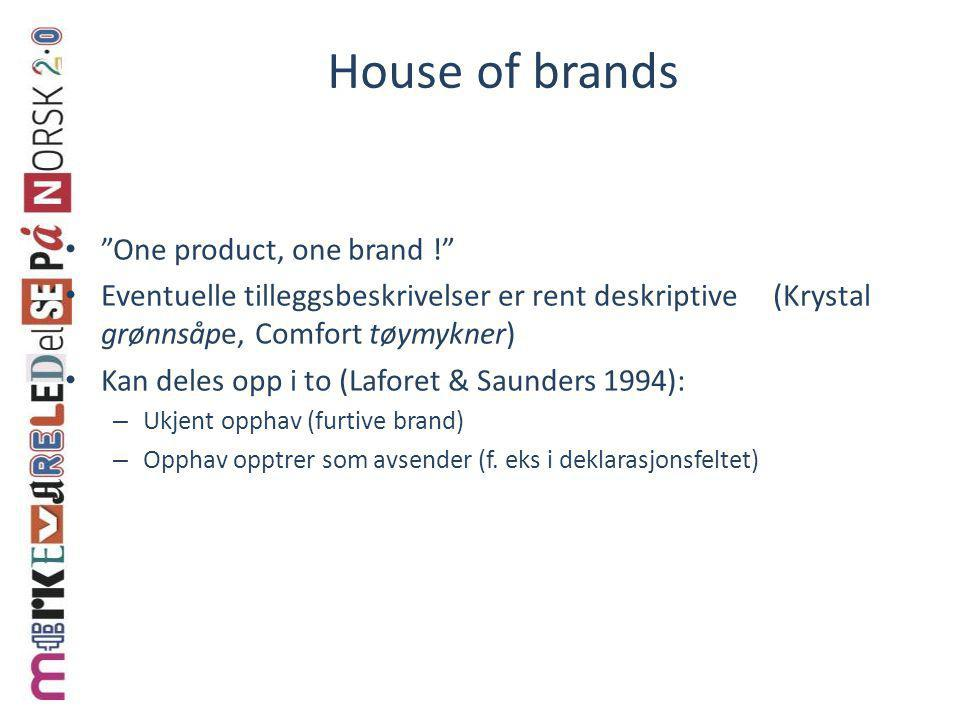 House of brands One product, one brand !