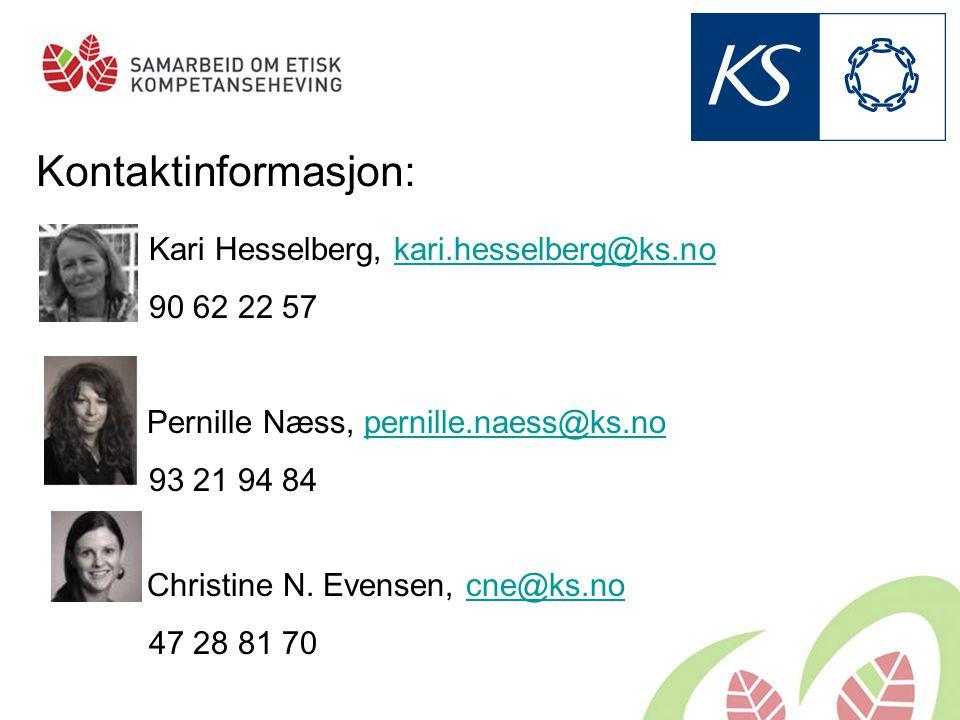 Kontaktinformasjon: Kari Hesselberg, kari.hesselberg@ks.no 90 62 22 57