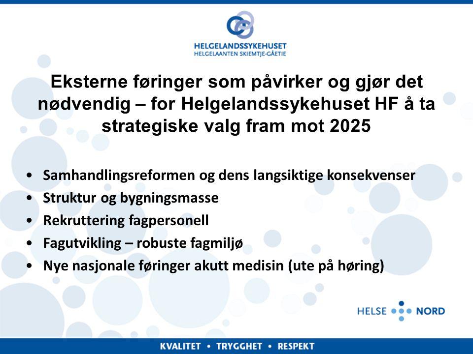 Eksterne føringer som påvirker og gjør det nødvendig – for Helgelandssykehuset HF å ta strategiske valg fram mot 2025