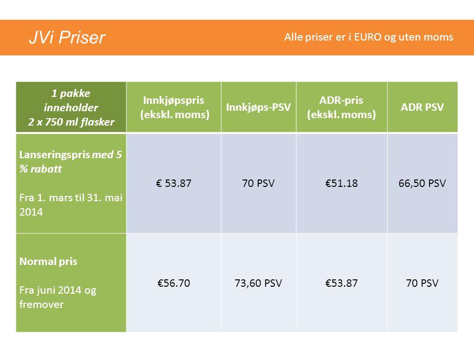 1 pakke inneholder 2 x 750 ml flasker Innkjøpspris (ekskl. moms)