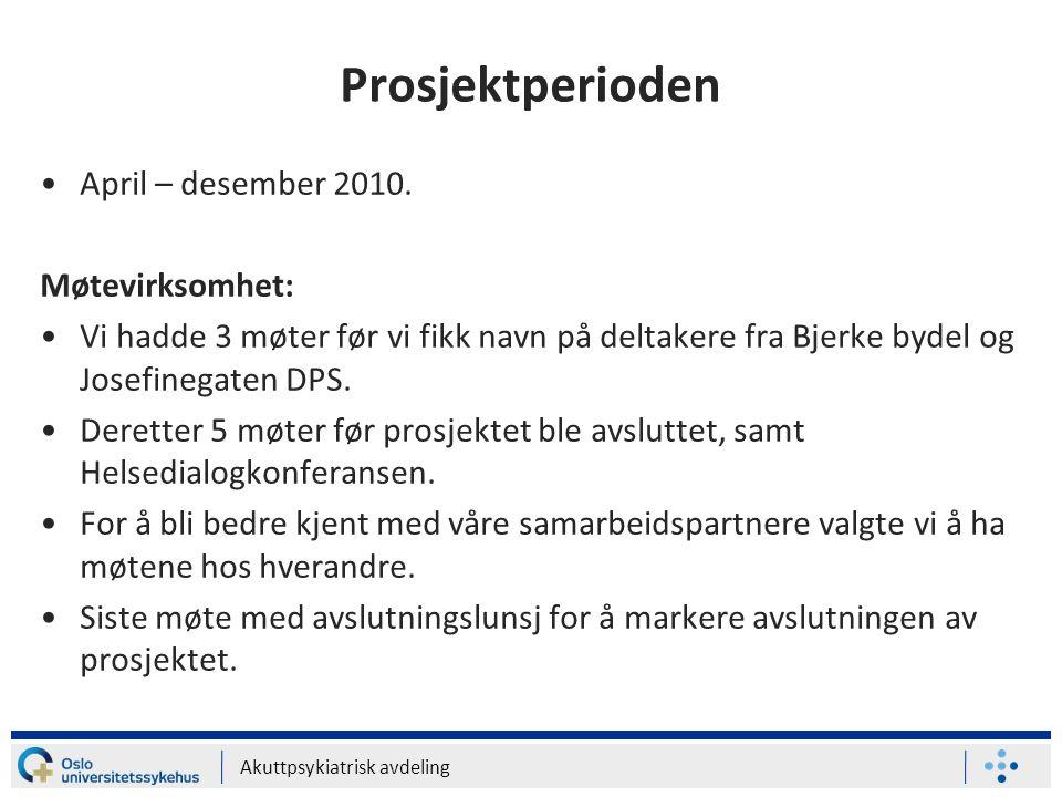 Prosjektperioden April – desember 2010. Møtevirksomhet: