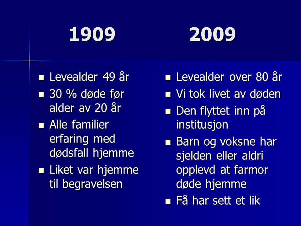1909 2009 Levealder 49 år 30 % døde før alder av 20 år