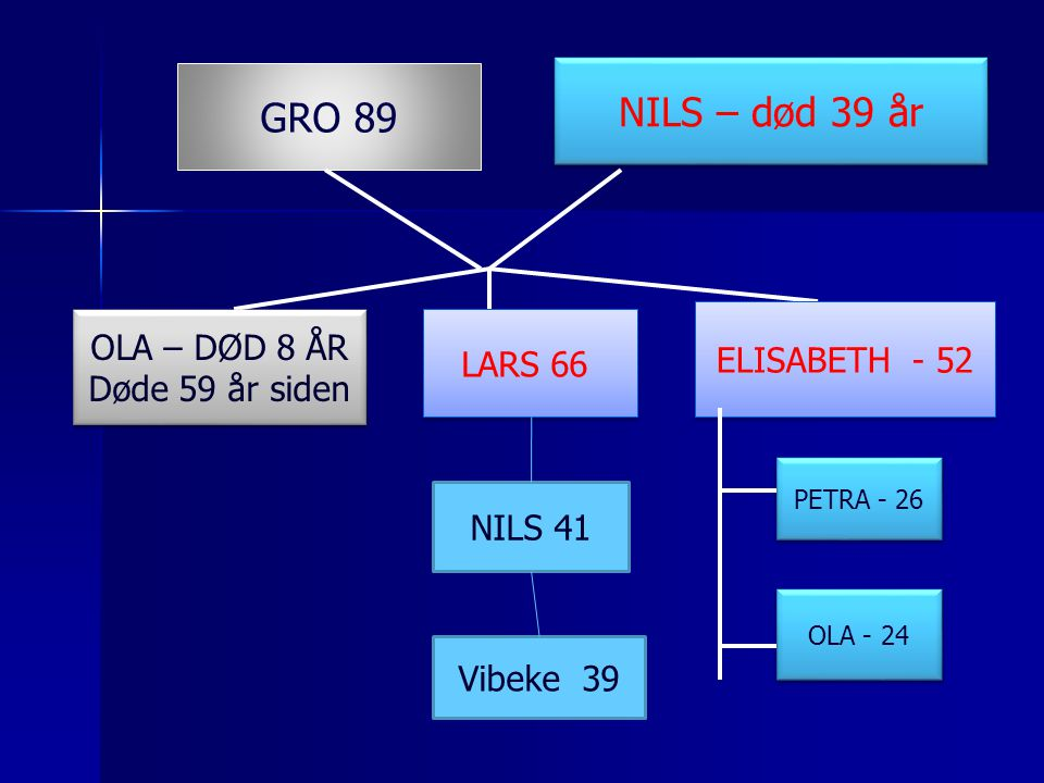 NILS – død 39 år GRO 89 OLA – DØD 8 ÅR ELISABETH - 52 LARS 66