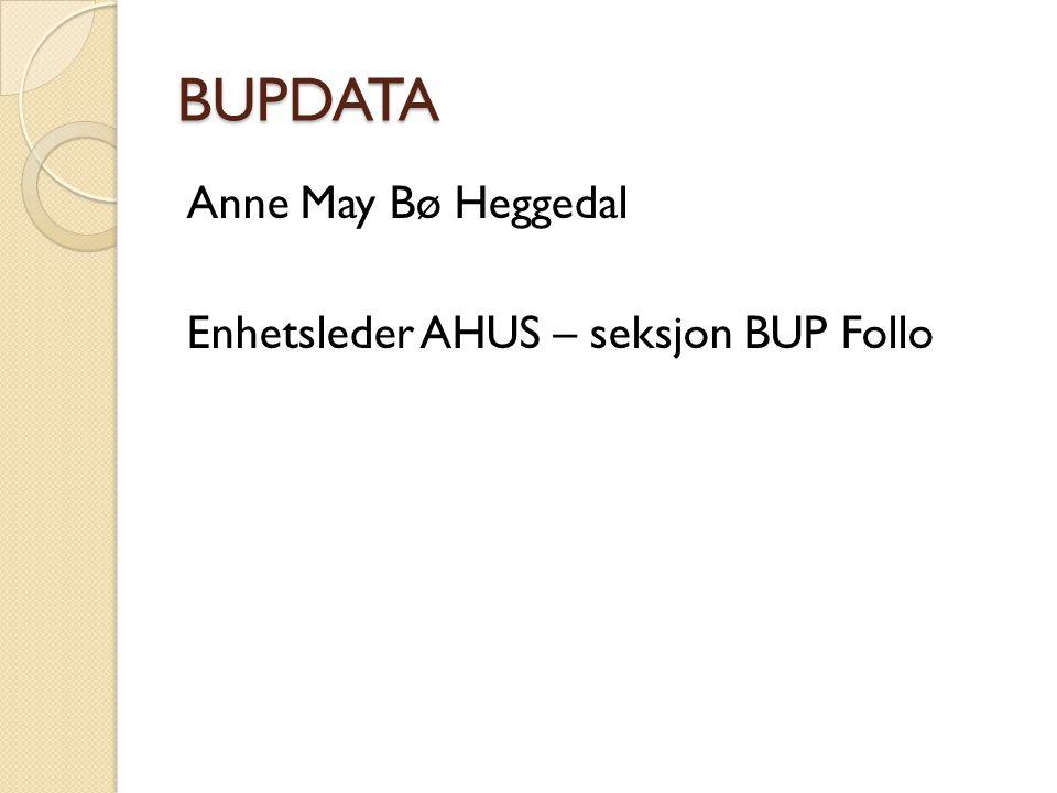 BUPDATA Anne May Bø Heggedal Enhetsleder AHUS – seksjon BUP Follo Hei
