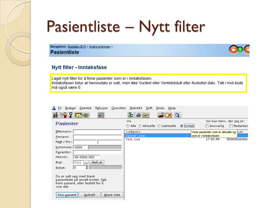Pasientliste – Nytt filter