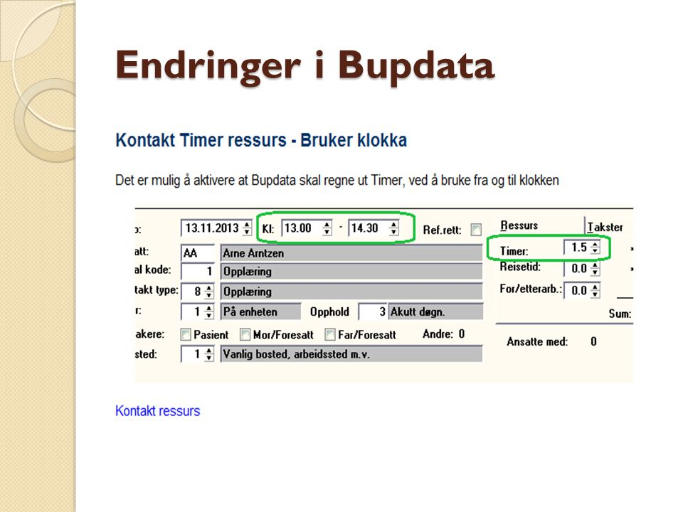 Endringer i Bupdata