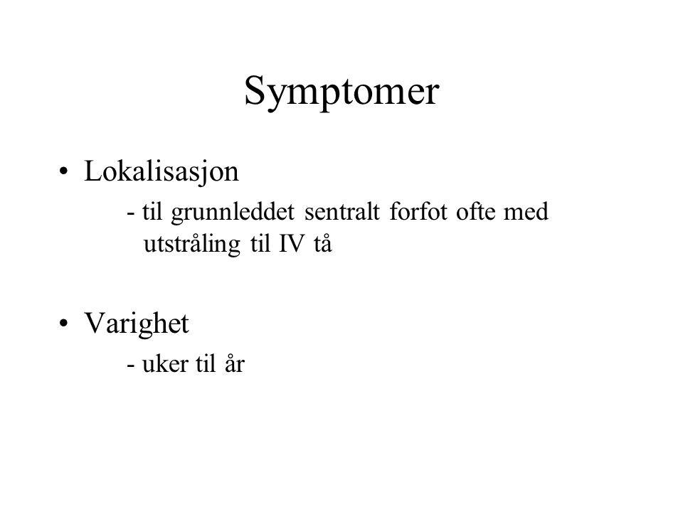 Symptomer Lokalisasjon Varighet