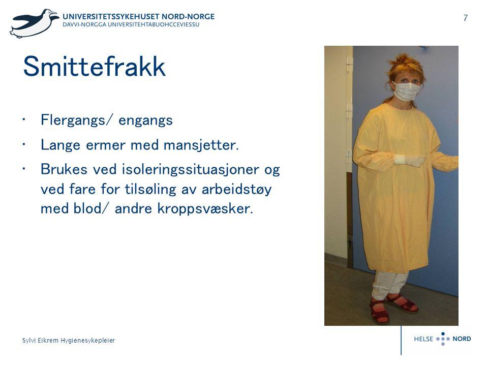 Smittefrakk Flergangs/ engangs Lange ermer med mansjetter.