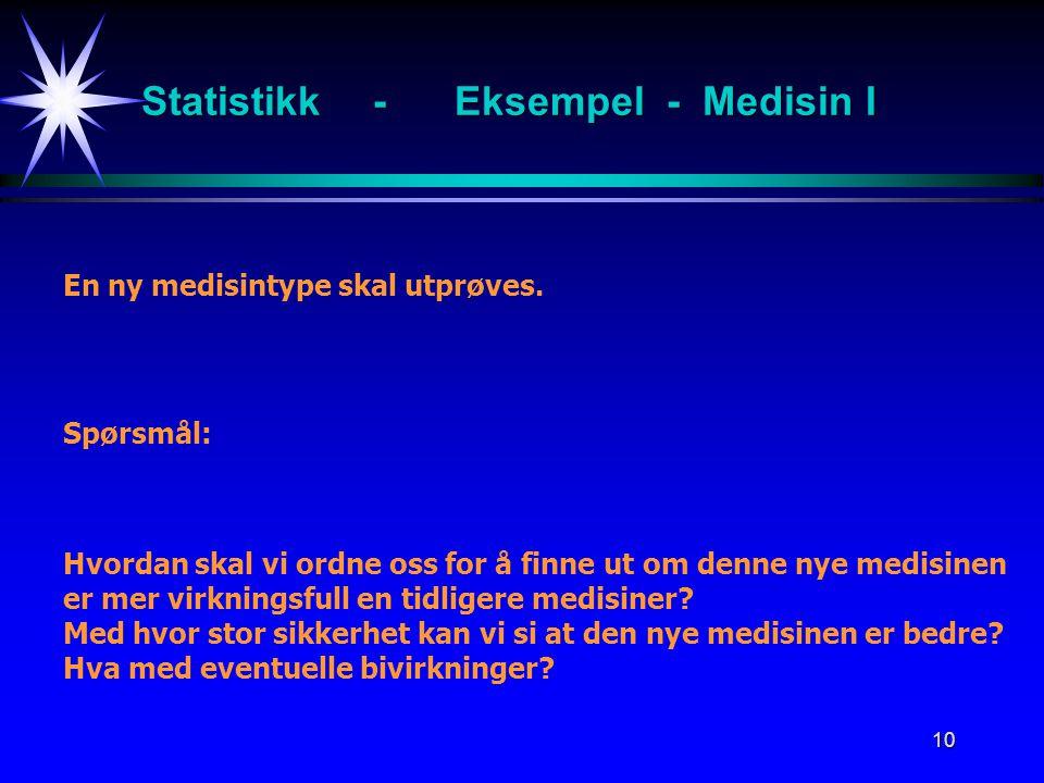 Statistikk - Eksempel - Medisin I