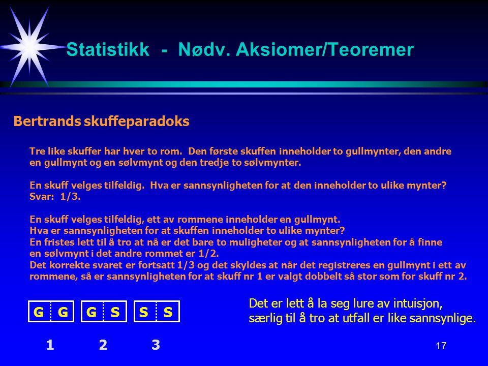 Statistikk - Nødv. Aksiomer/Teoremer