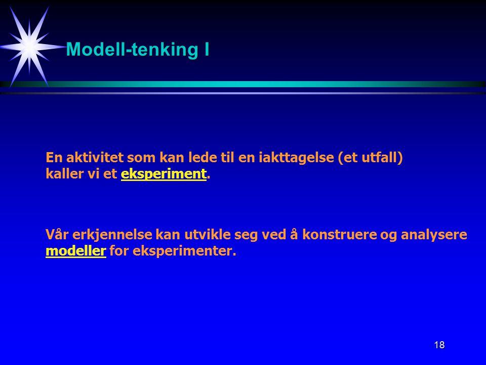Modell-tenking I En aktivitet som kan lede til en iakttagelse (et utfall) kaller vi et eksperiment.