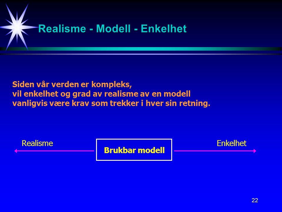Realisme - Modell - Enkelhet