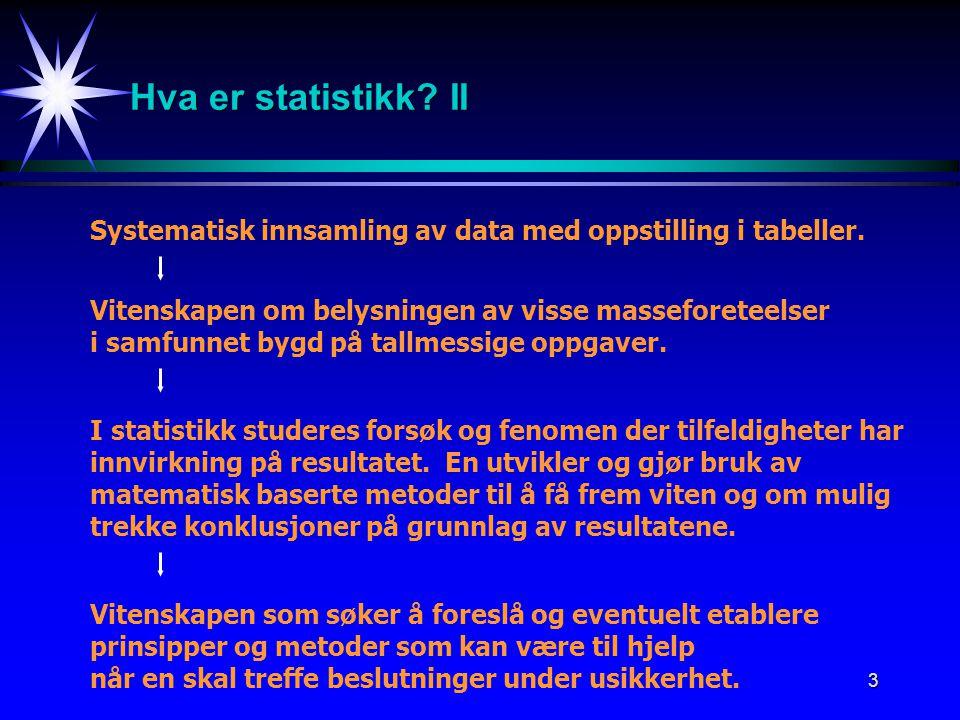 Hva er statistikk II Systematisk innsamling av data med oppstilling i tabeller. Vitenskapen om belysningen av visse masseforeteelser.