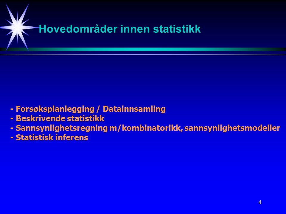 Hovedområder innen statistikk