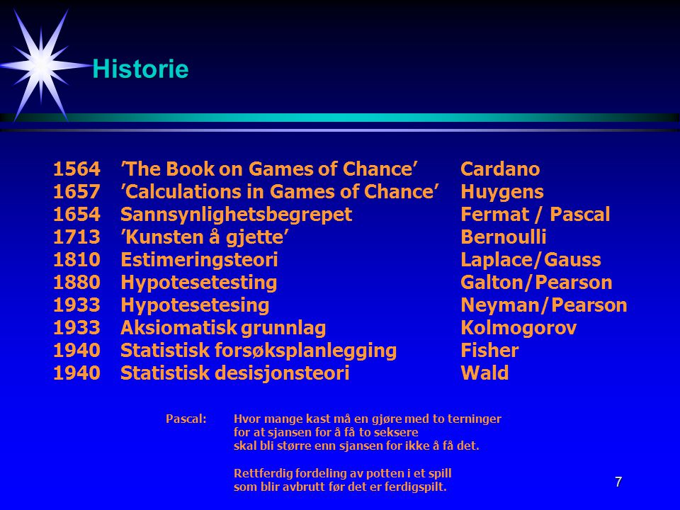 Historie 1564 'The Book on Games of Chance' Cardano