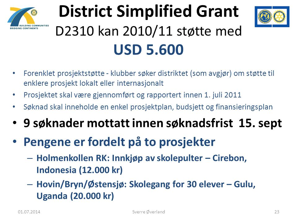 District Simplified Grant D2310 kan 2010/11 støtte med USD 5.600