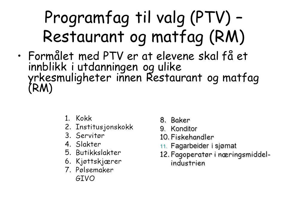Programfag til valg (PTV) – Restaurant og matfag (RM)