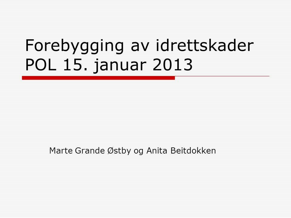 Forebygging av idrettskader POL 15. januar 2013