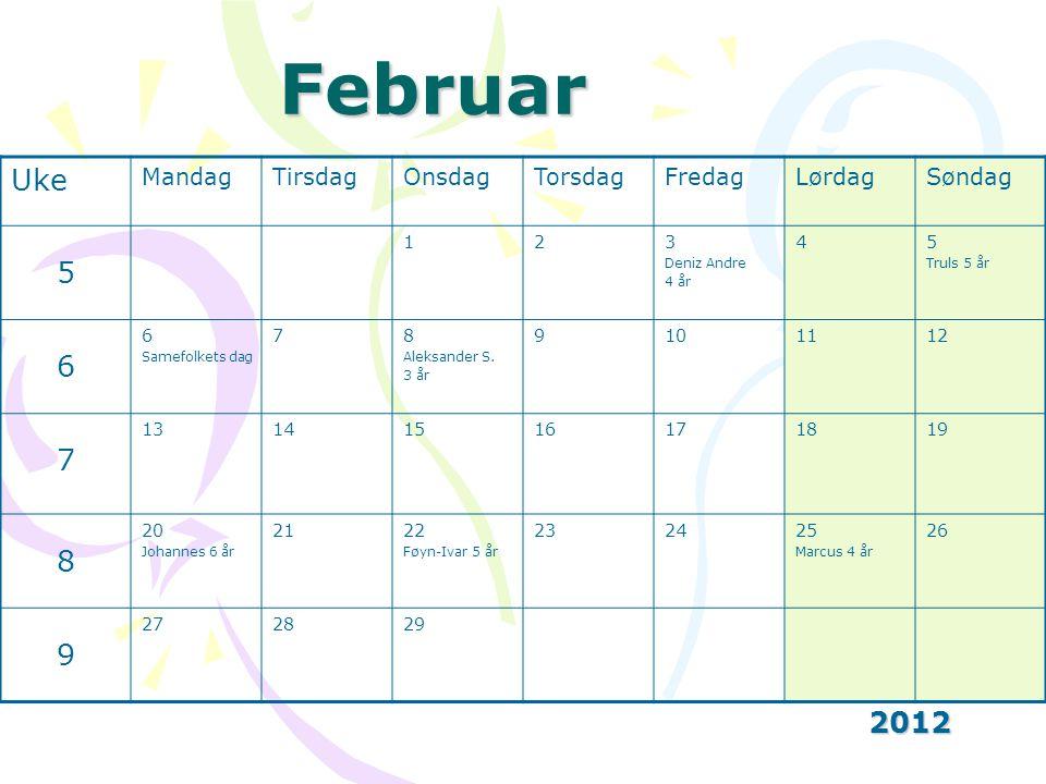 Februar Uke 5 6 2012 Mandag Tirsdag Onsdag Torsdag Fredag Lørdag