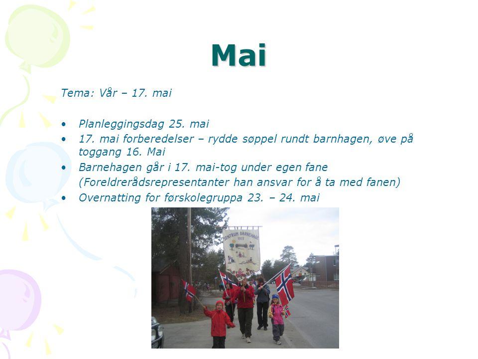 Mai Tema: Vår – 17. mai Planleggingsdag 25. mai