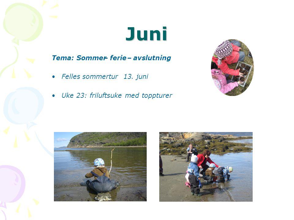 Juni Tema: Sommer – ferie avslutning • Felles sommertur 13. juni