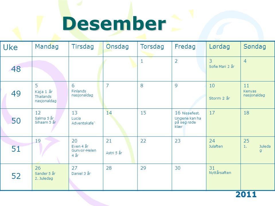 Desember Uke 48 49 50 51 52 2011 Mandag Tirsdag Onsdag Torsdag Fredag