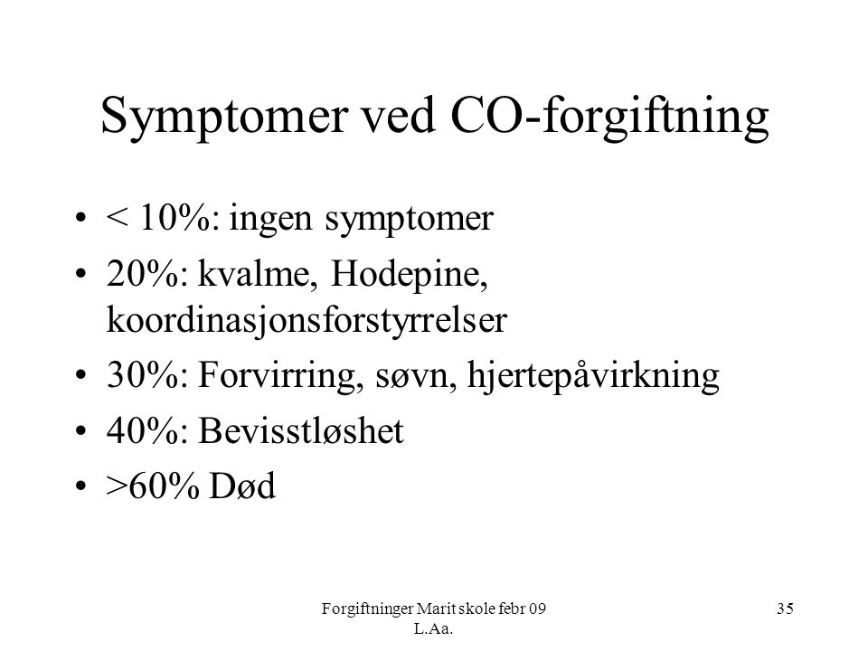 Symptomer ved CO-forgiftning