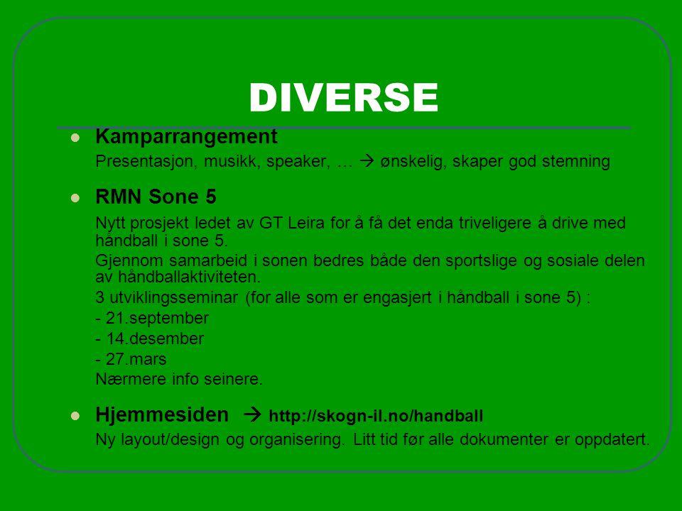 DIVERSE Kamparrangement RMN Sone 5