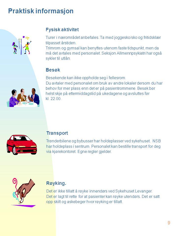 Praktisk informasjon Fysisk aktivitet Besøk Transport Røyking.