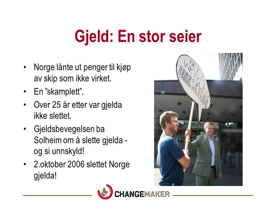 Gjeld: En stor seier Norge lånte ut penger til kjøp av skip som ikke virket. En skamplett . Over 25 år etter var gjelda ikke slettet.