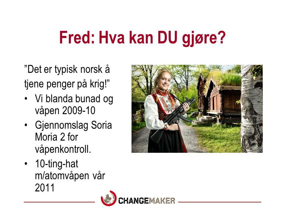Fred: Hva kan DU gjøre Det er typisk norsk å tjene penger på krig!