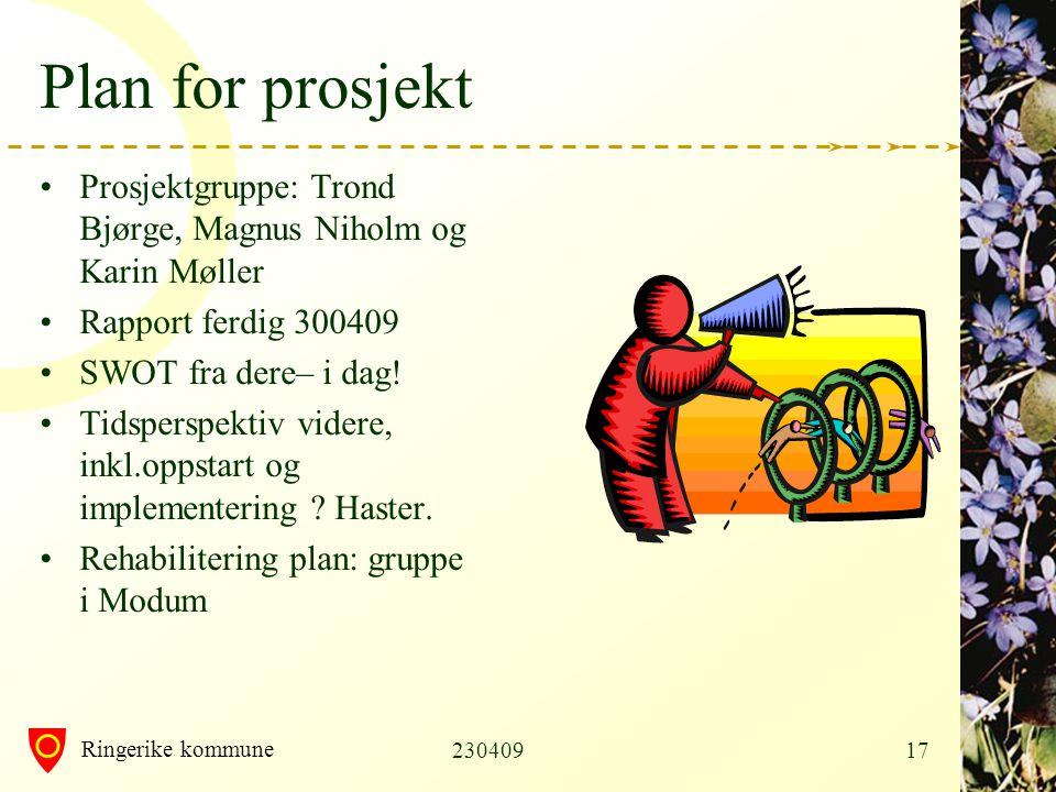 Plan for prosjekt Prosjektgruppe: Trond Bjørge, Magnus Niholm og Karin Møller. Rapport ferdig 300409.