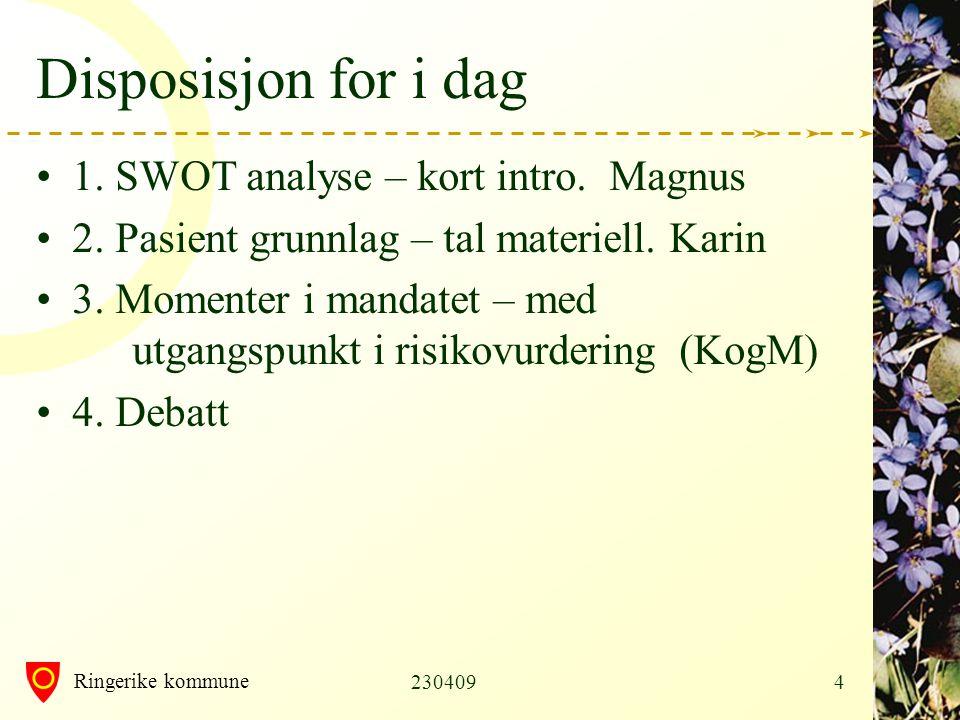 Disposisjon for i dag 1. SWOT analyse – kort intro. Magnus