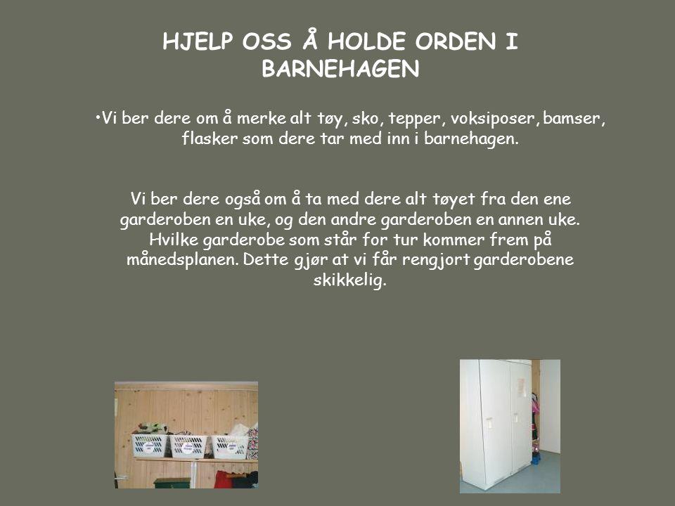 HJELP OSS Å HOLDE ORDEN I BARNEHAGEN