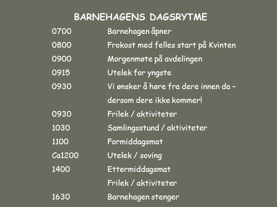 BARNEHAGENS DAGSRYTME