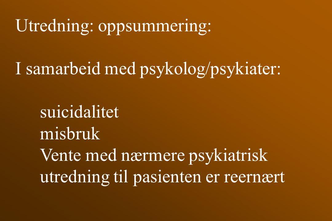 Utredning: oppsummering:
