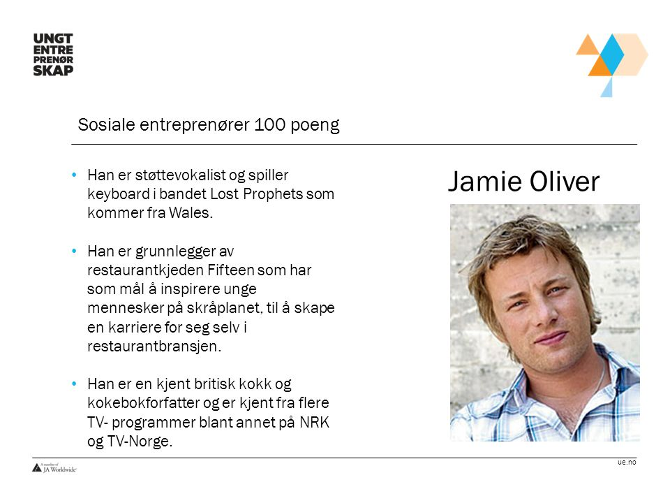 Jamie Oliver Sosiale entreprenører 100 poeng