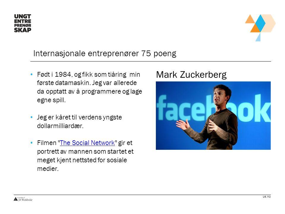 Mark Zuckerberg Internasjonale entreprenører 75 poeng