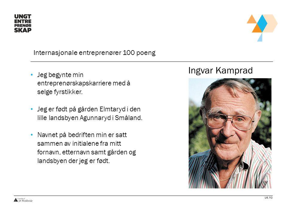 Ingvar Kamprad Internasjonale entreprenører 100 poeng