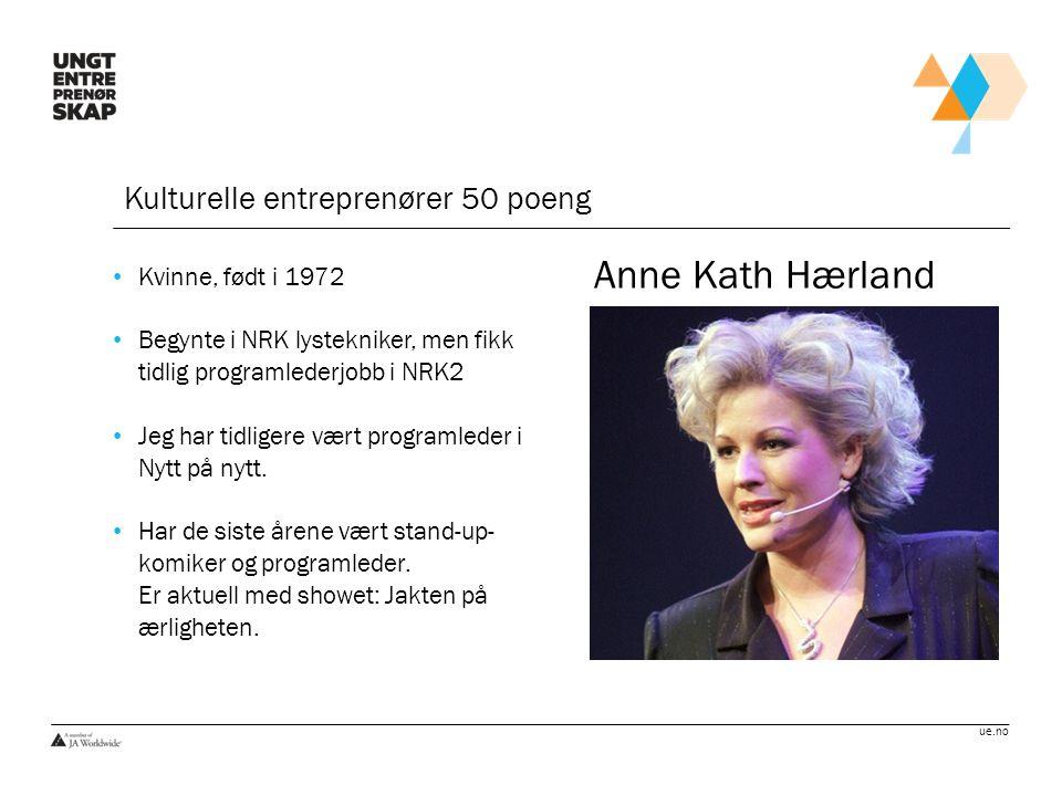 Anne Kath Hærland Kulturelle entreprenører 50 poeng